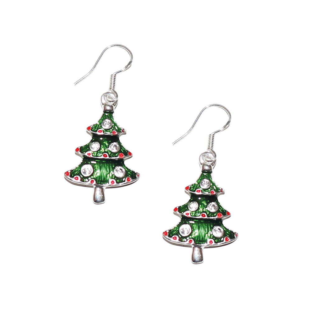 tree christmas earrings hand glass blown