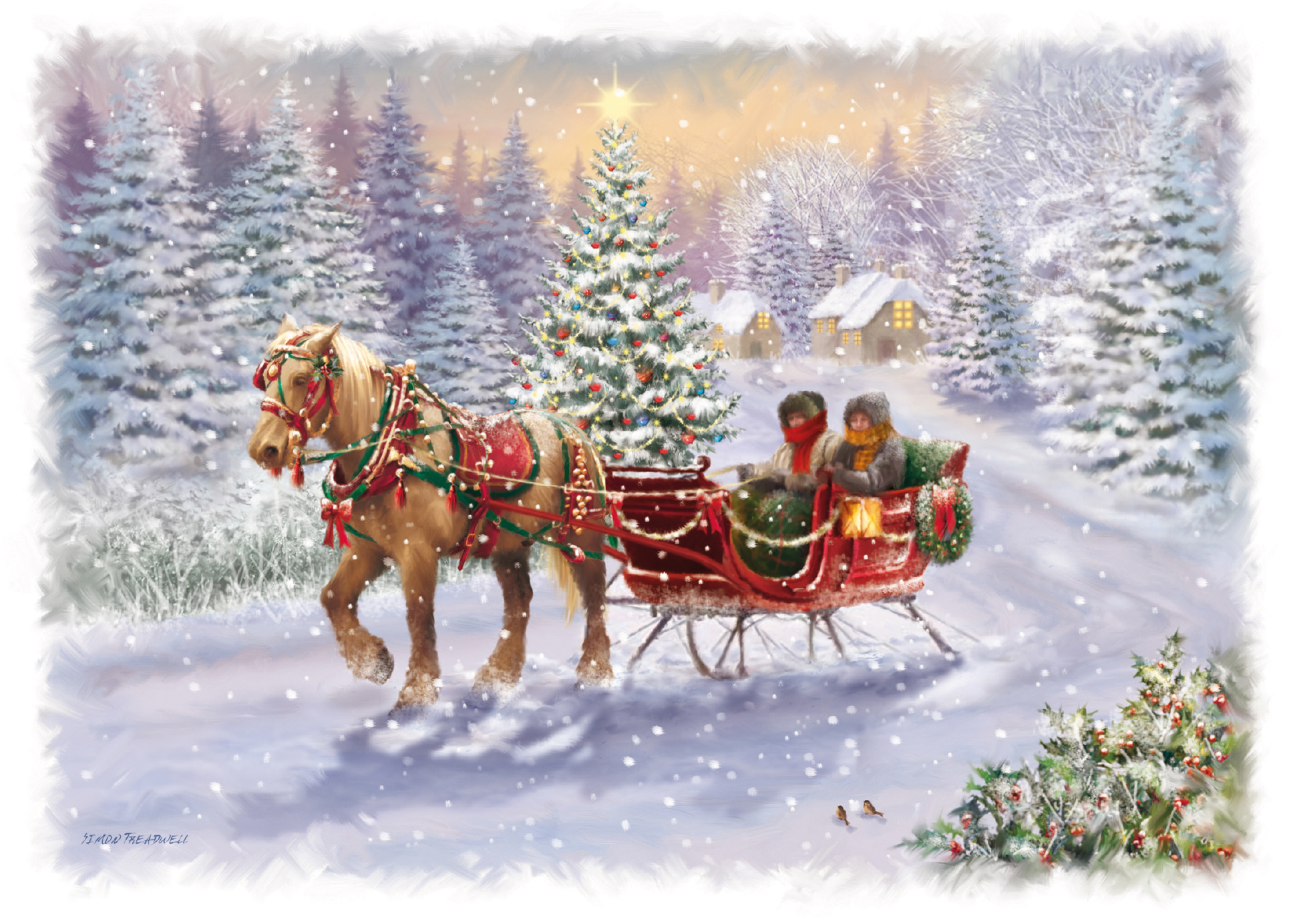 Christmas Horse Pictures.Horse Drawn Sleigh Christmas Card