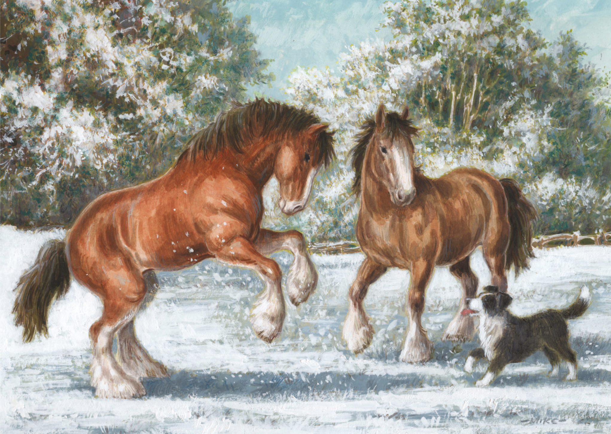 Christmas Horse Pictures.Playing In The Snow Christmas Card